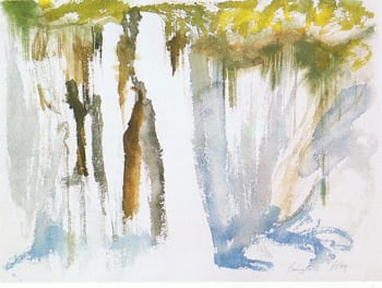 """Figure 4. Bernice Bing, Burney Falls. 1965. Watercolor on paper, 24 x32"""". Collection of the artist."""