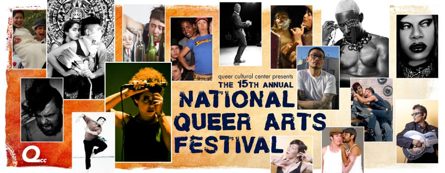 Orange gradient with square portraits of LGBTQ artists text says Queer Cultural Center presents 15th annual national queer arts festival