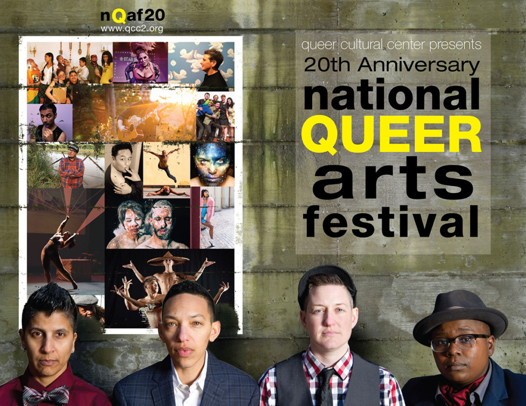 Four cut outs of butch presenting people grid of LGBTQ people of color text says 20th annual National Queer Arts Festival