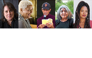 Image of five people left to right Kim Shuck, Jewelle Gomez, Stephen Meadows, Linda Noel, Ramona Webb