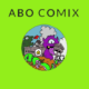 Logo for ABO Comix illustrations of monsters eating a prison