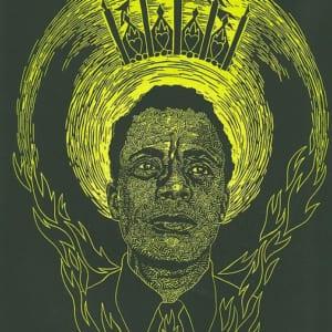 Woodblock print of James Baldwin by Joan Chen