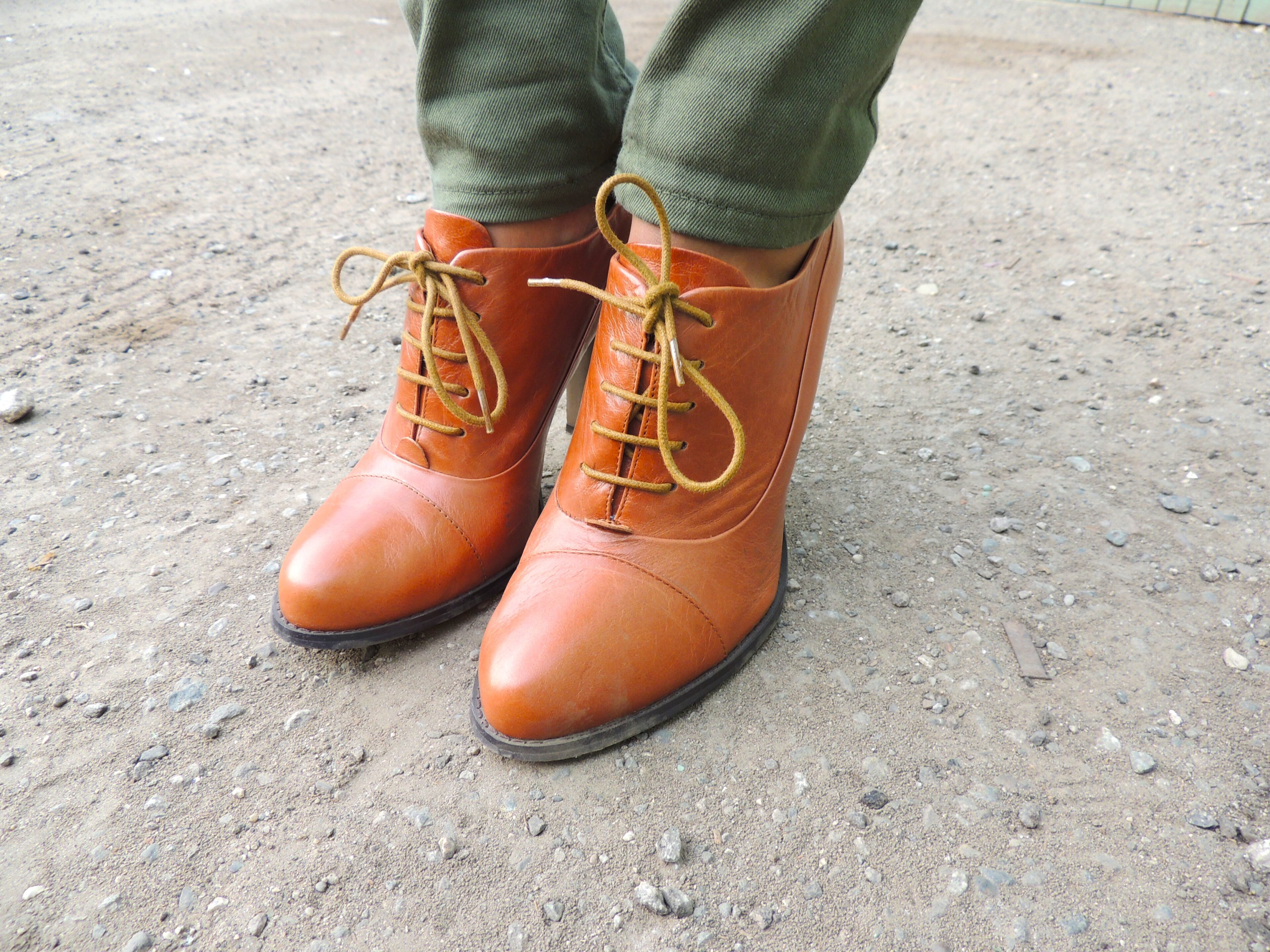 brown booties with laces from aldo