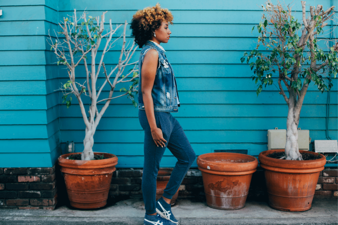 blue monochrome outfit in orange california