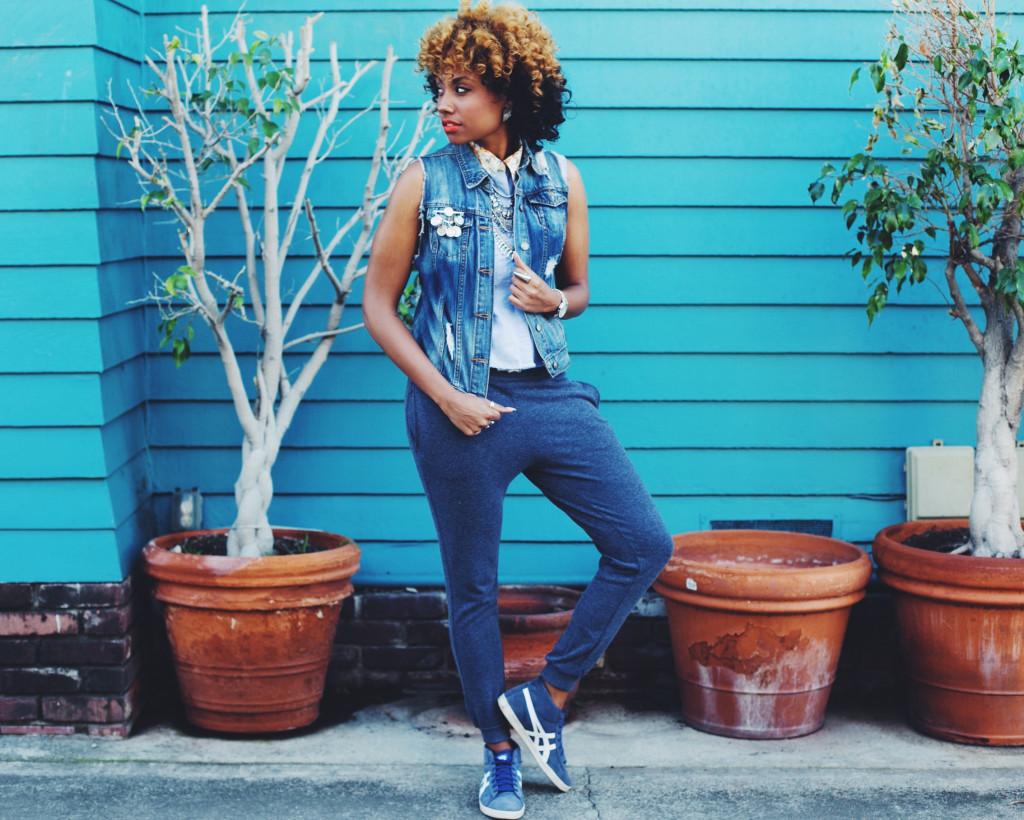 blue, monochrome, fashion, street style, denim, joggers, asics