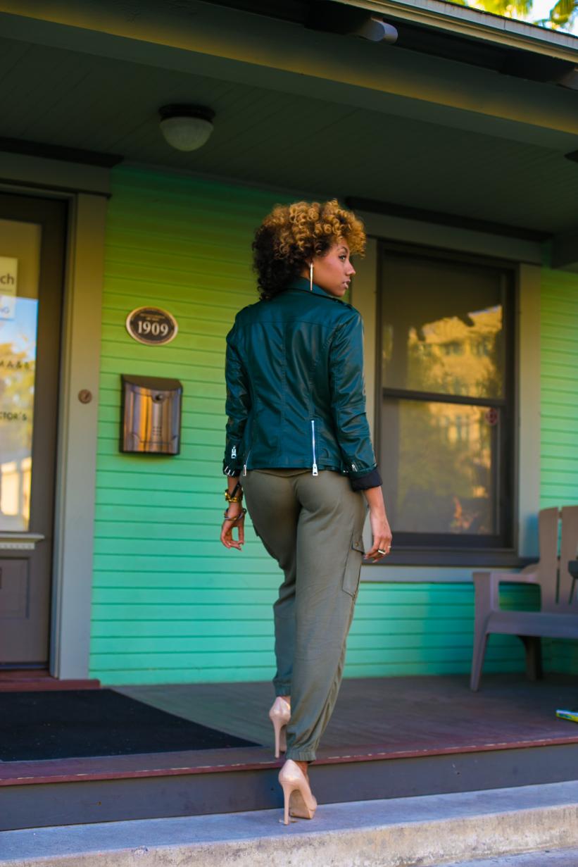monochrome green outfit in orange california