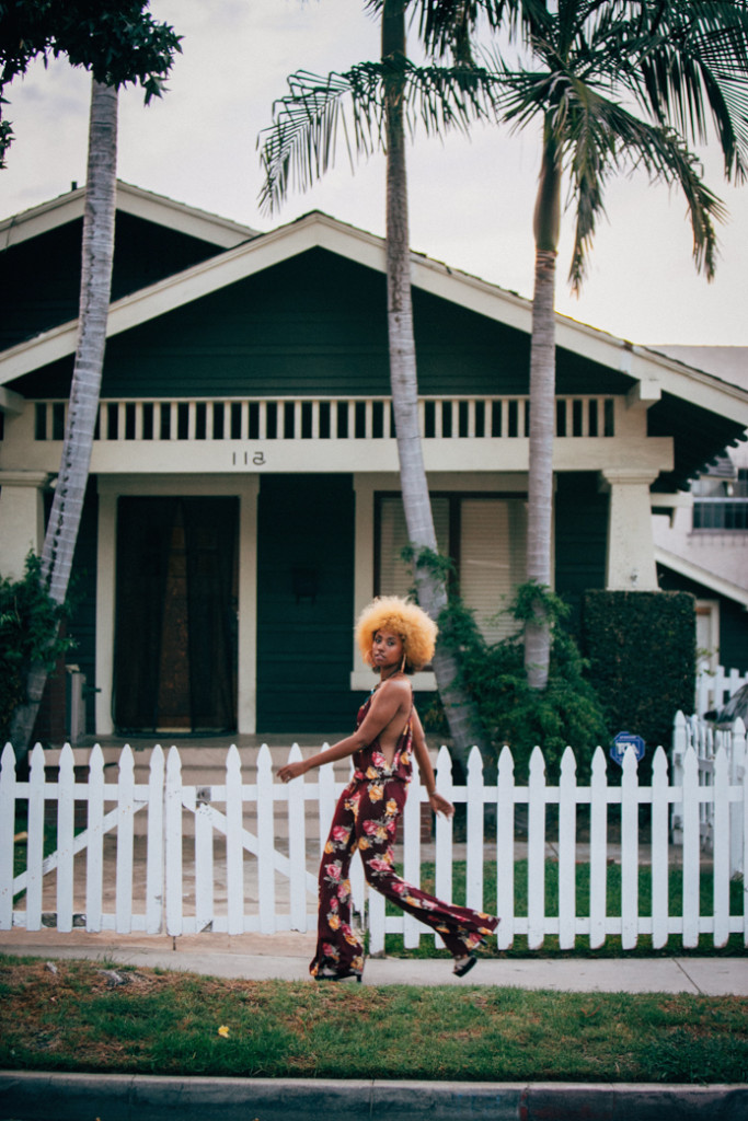 Foxy Cleopatra inspired outfit with floral jumpsuit in long beach
