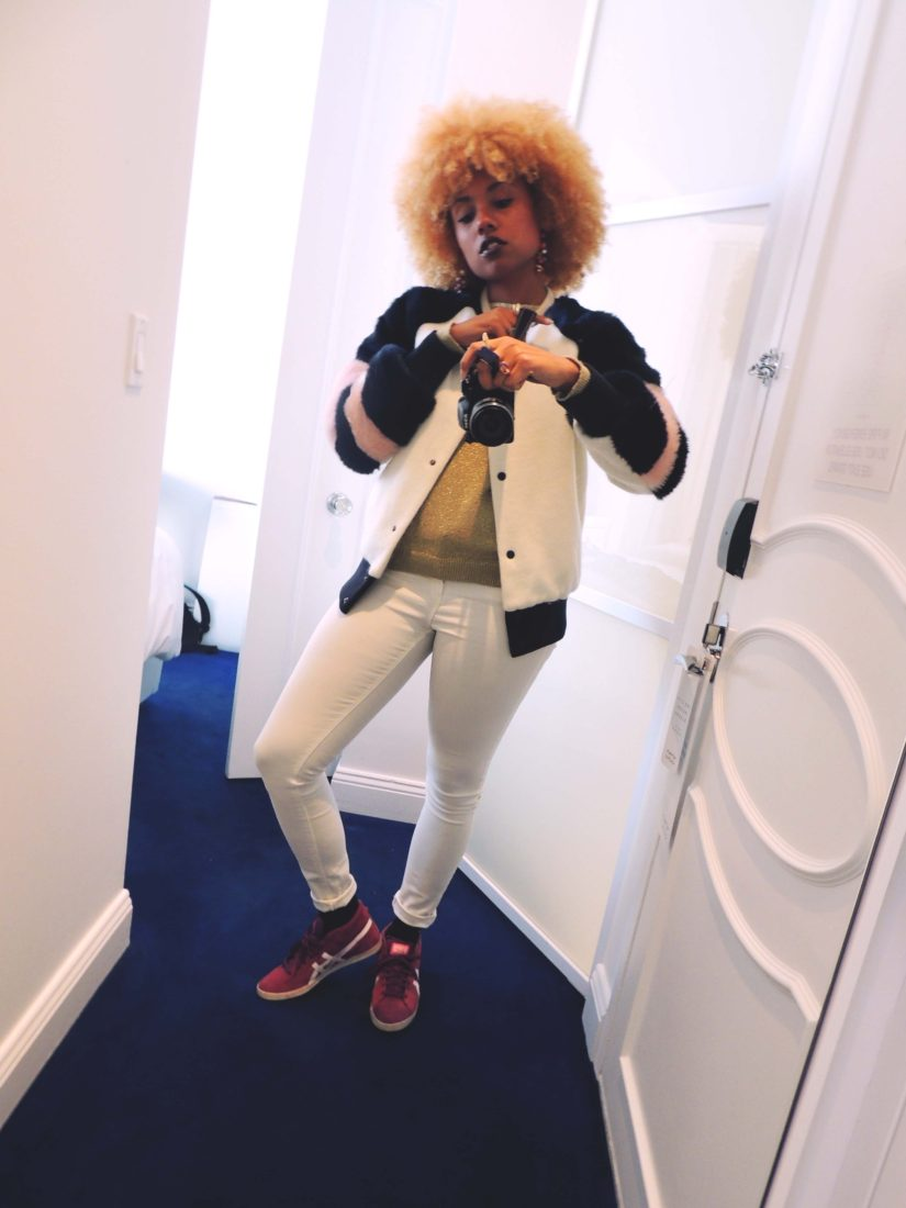 LiveClothesMinded in Nomo Hotel in Soho New York, wearing Zara fur jacket. white pants and pink Onitsuka Tiger sneakers