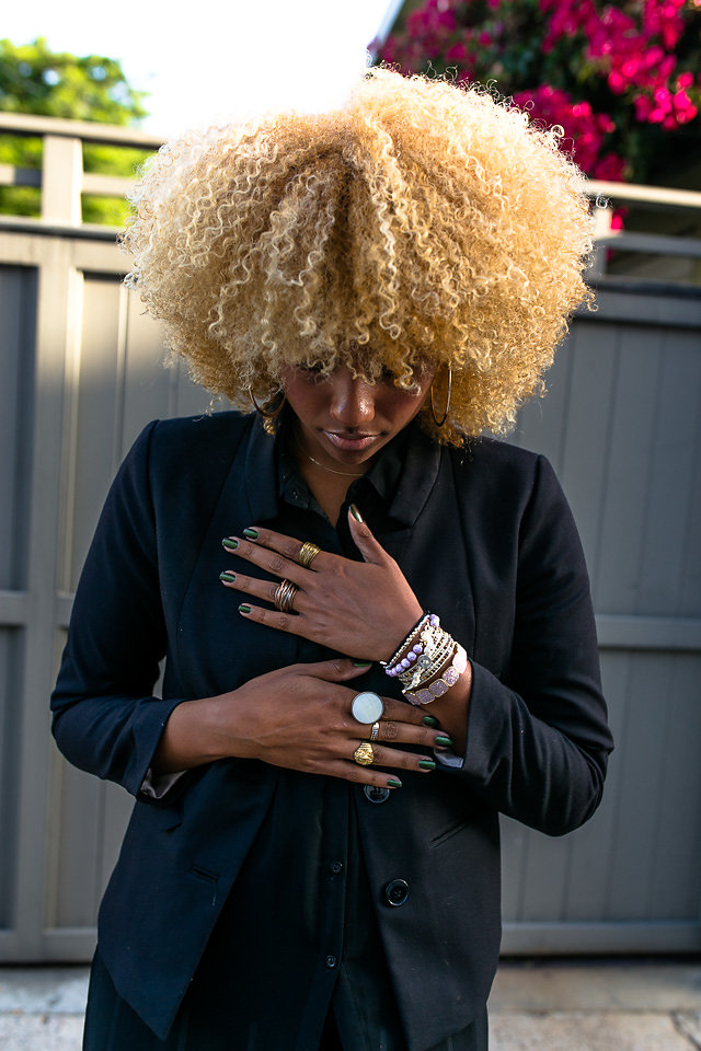 personal style-blonde curls-black blazer-lcm-rsee-xmmtt-live clothes minded-wear who you are