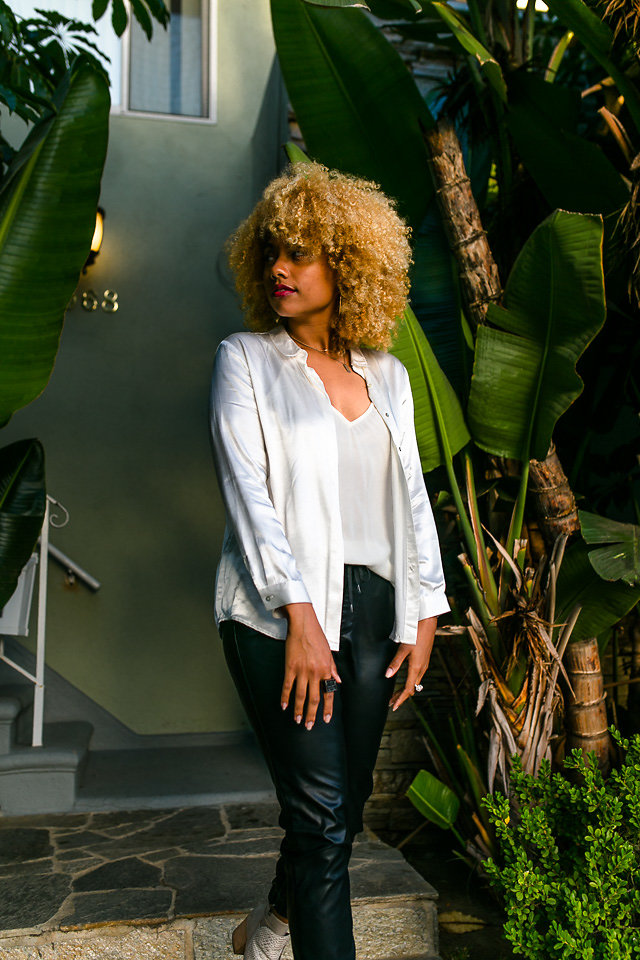 wear silk white blouse with faux leather joggers-long beach-liveclothesminded