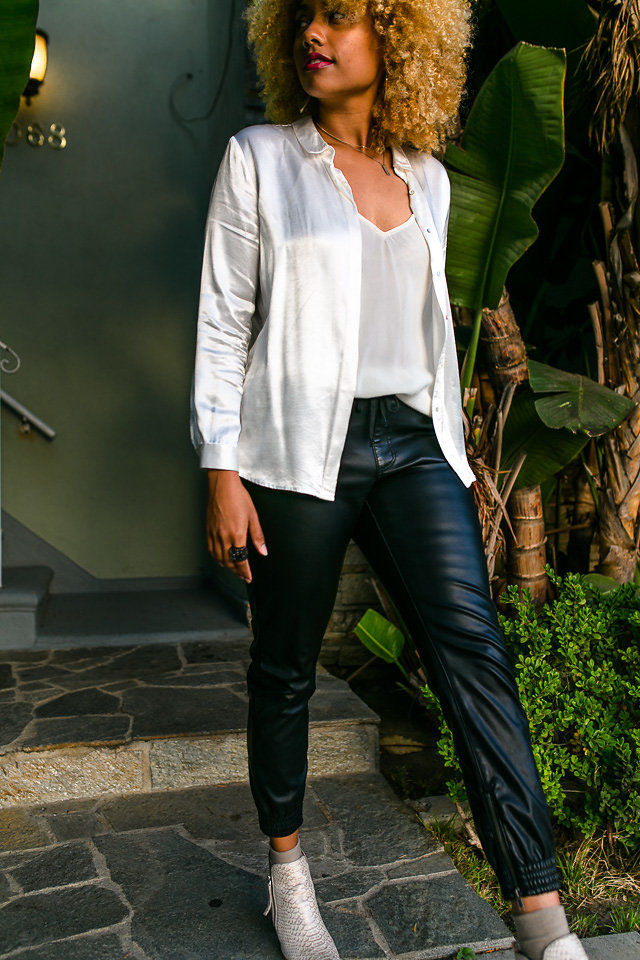 silk white blouse with faux leather joggers-long beach-liveclothesminded