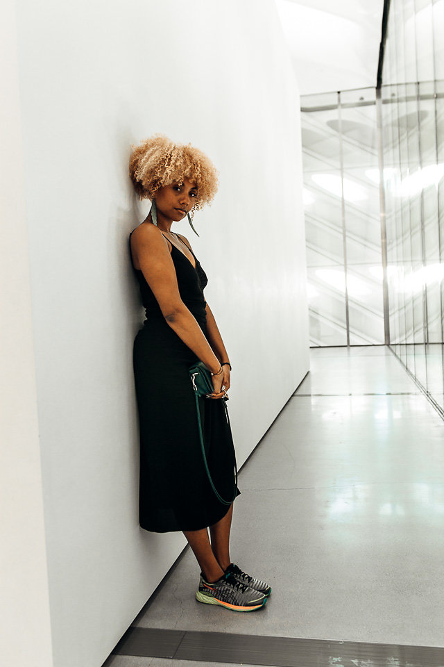 fit femme-dress with sneakers-The Broad LA Artwork