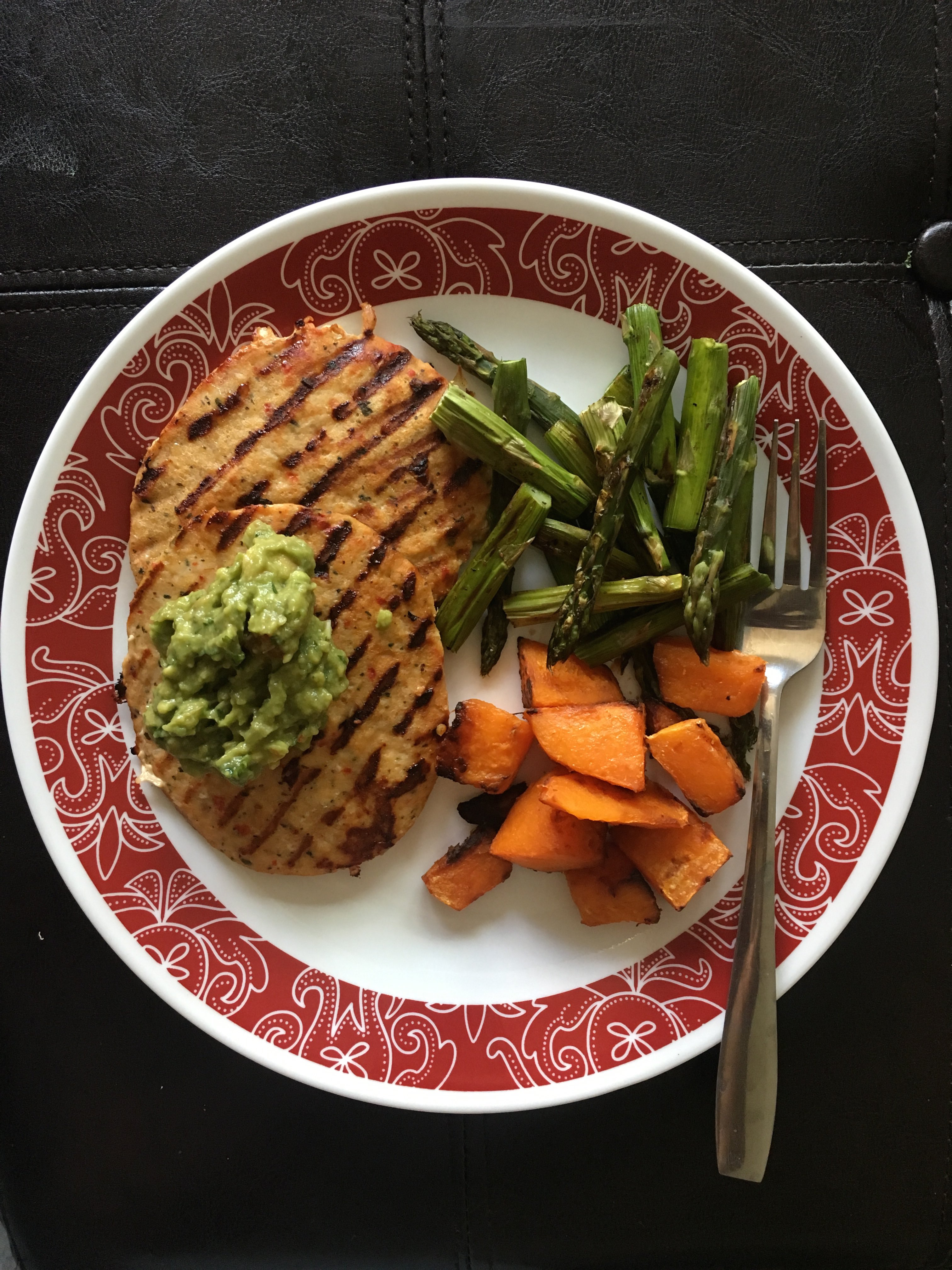 Whole 30 Approved Meal with Trader Joes Chili Lime Chicken Burgers