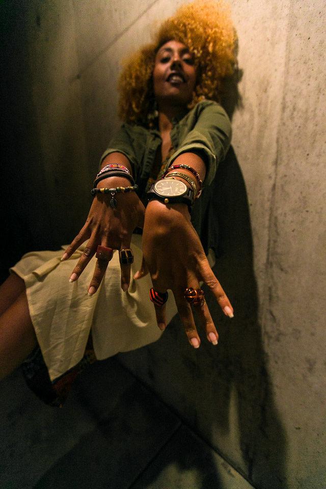 woman wearing a wood watch