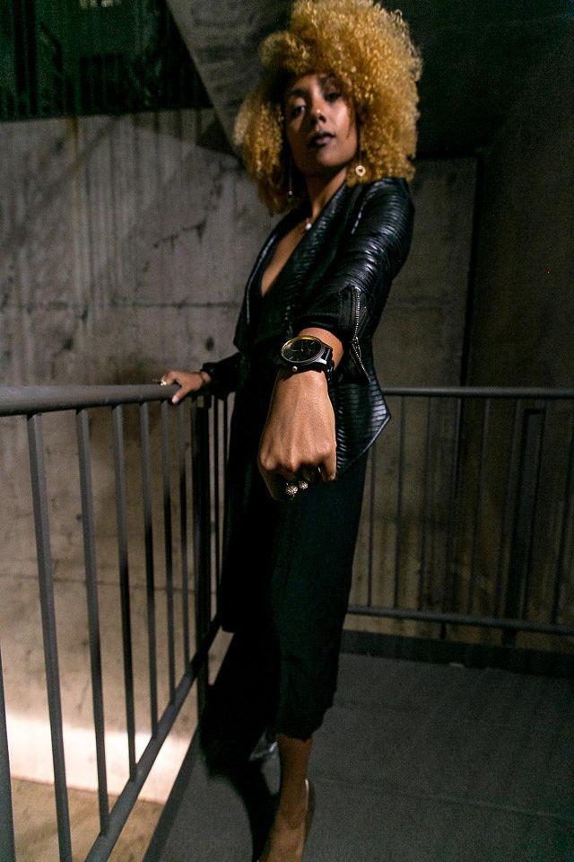 woman wearing wood watch