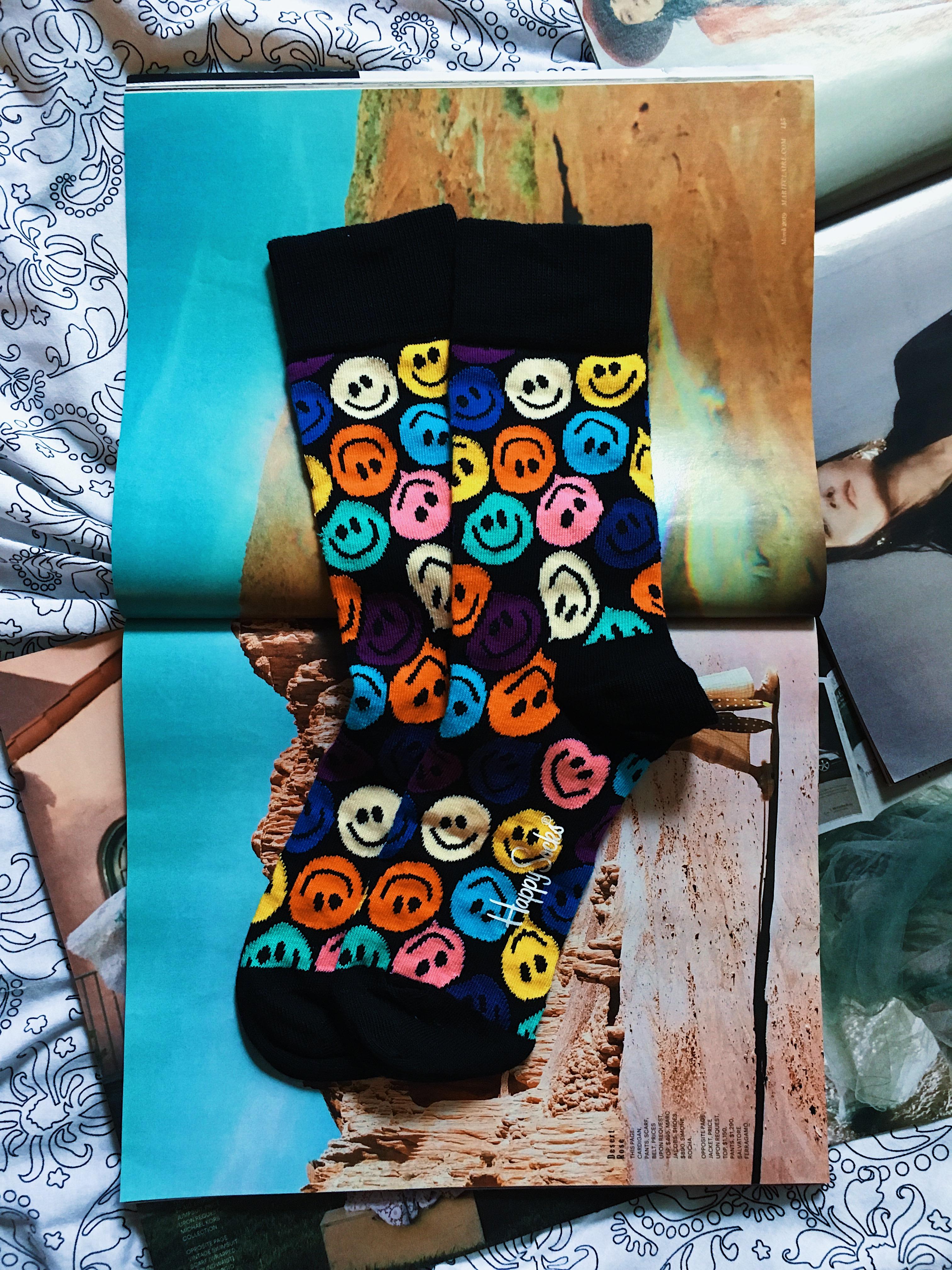 happy socks-printed socks-happy face socks-
