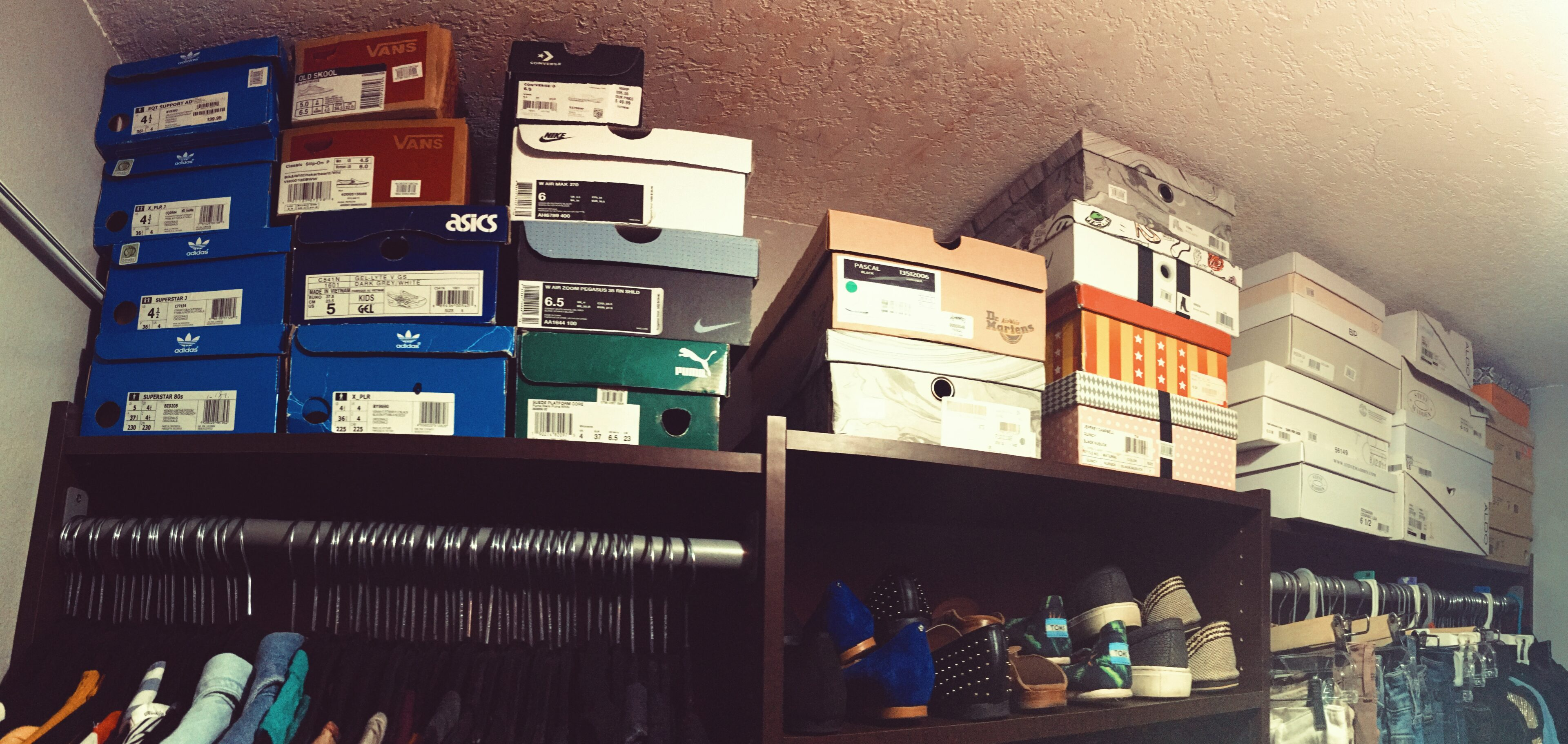 closet organizing-stacked shoe boxes-wear who you are-organization tips