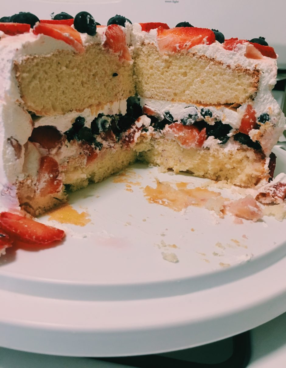 4th of July cake recipe-moist cake-strawberries-blueberries-cool whip-betty crocker cake mix