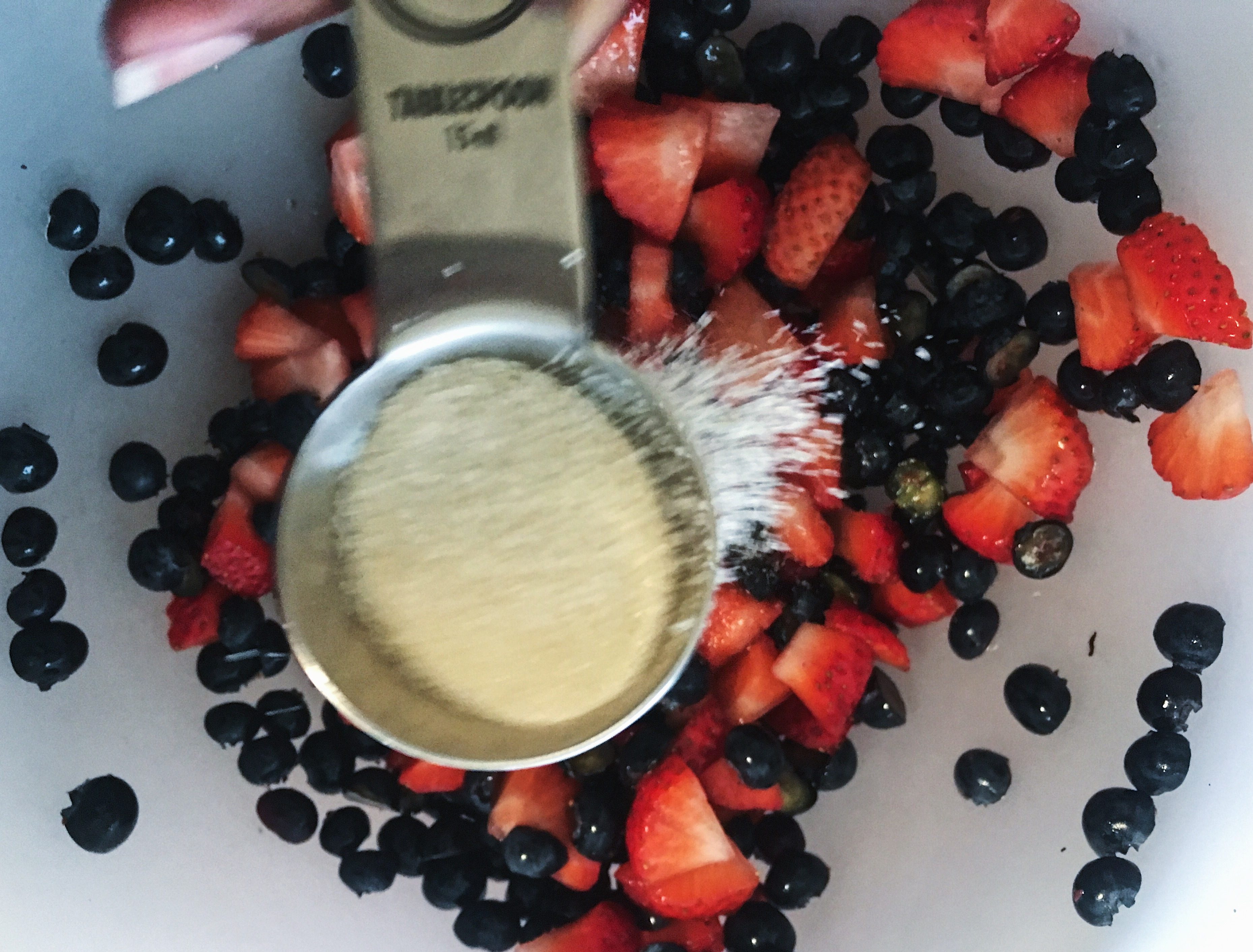 add 1 tablespoon of sugar to berries to make a berry syrup