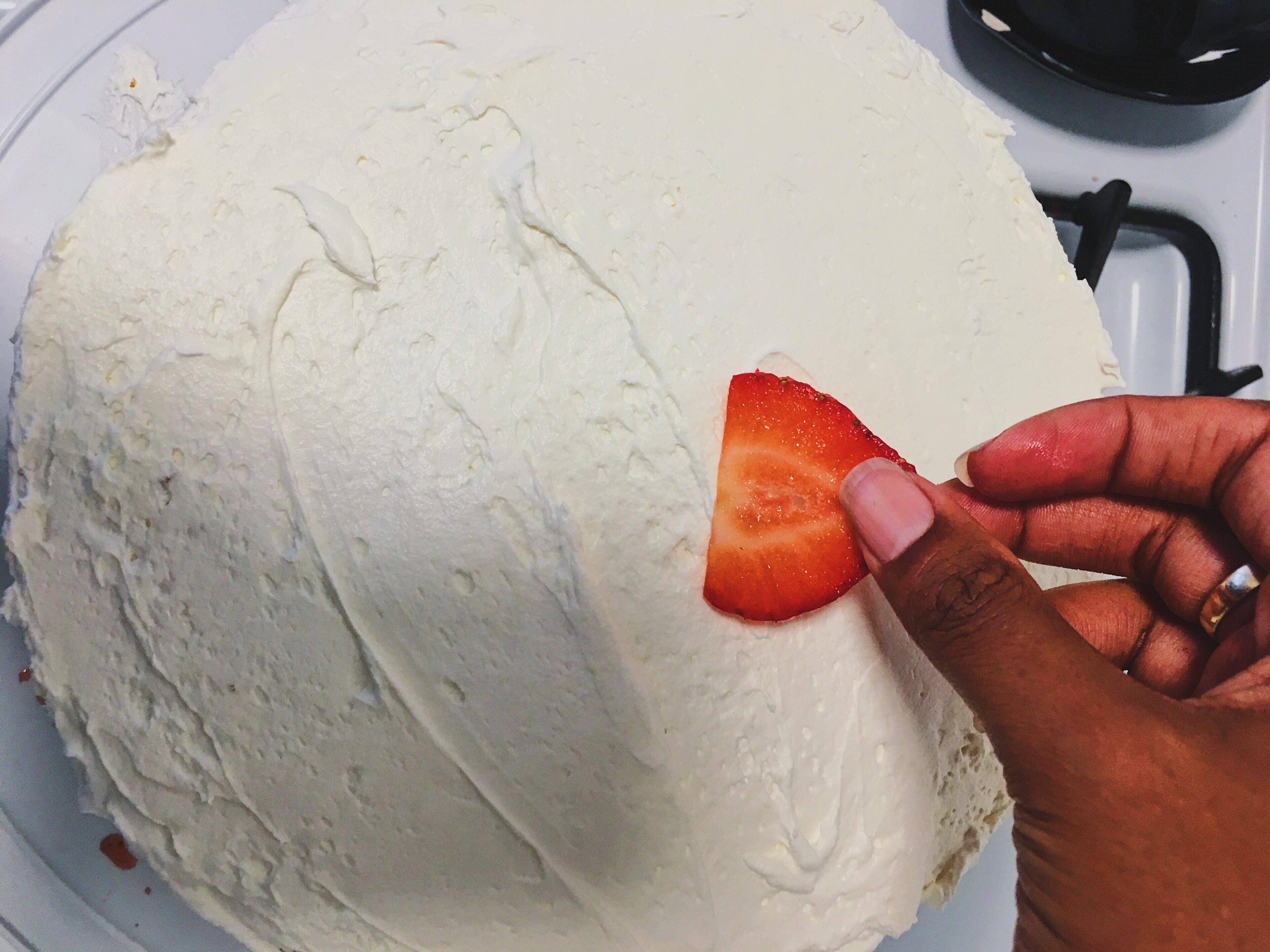 add strawberries on top
