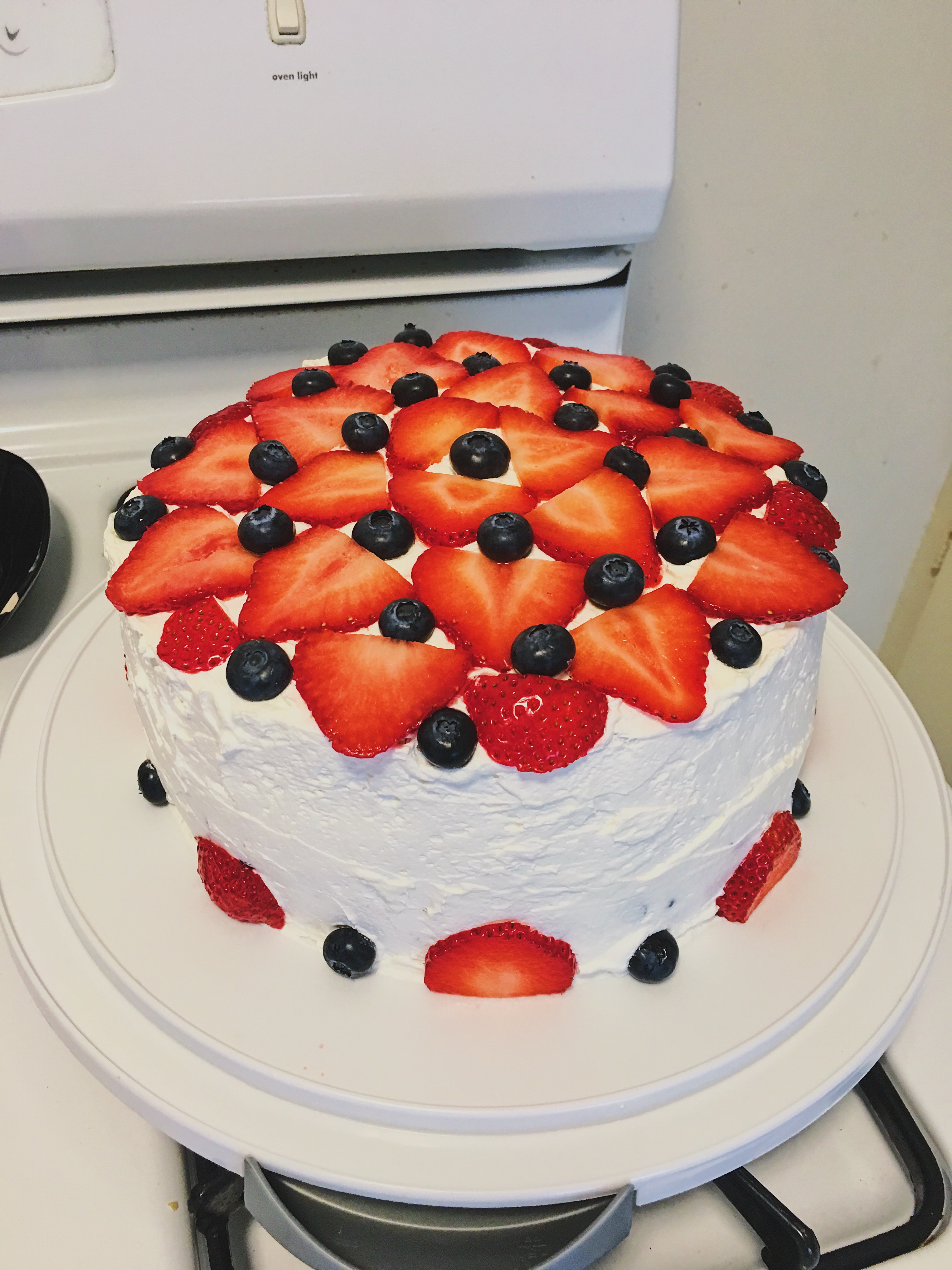 4th of july red white and blue cake with strawberries and blueberries