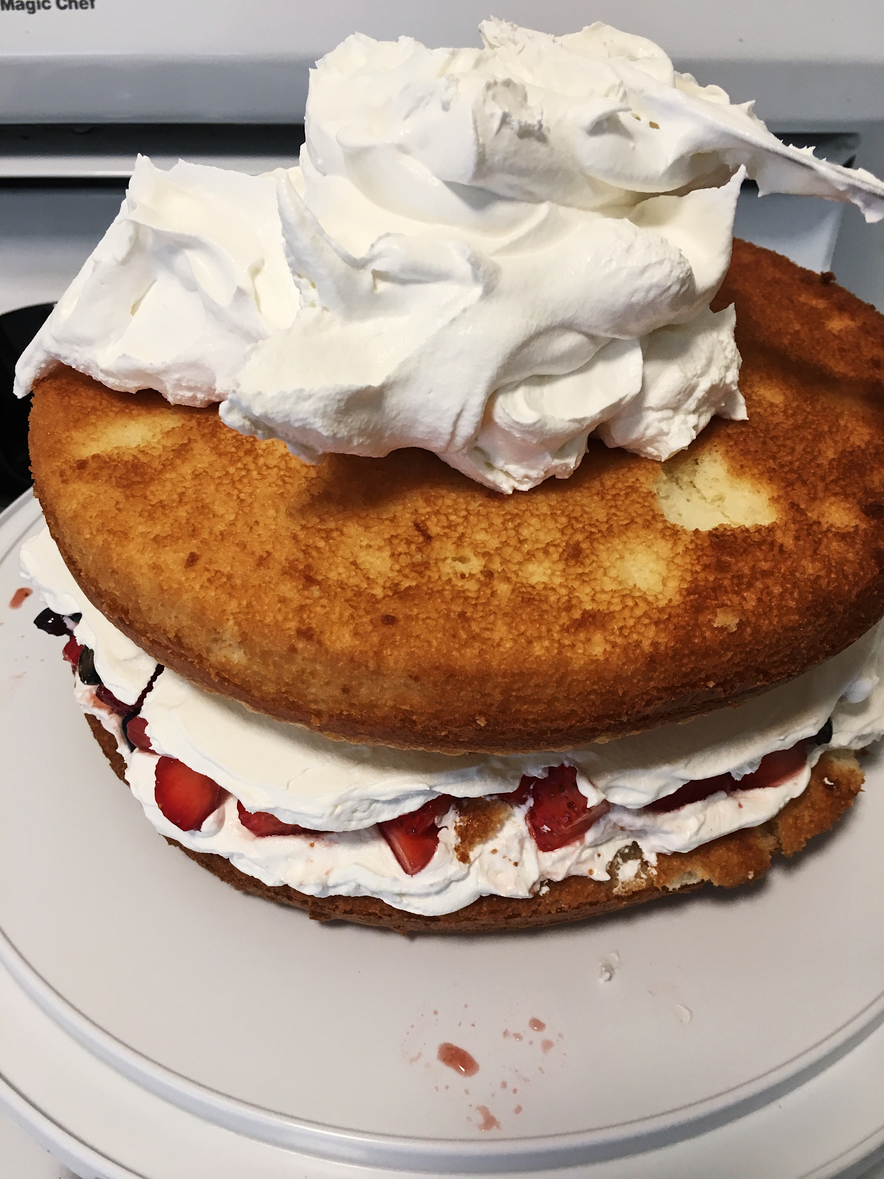 spread cool whip on cake