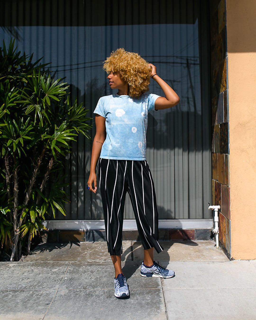 mix prints-stripes-tie dye-natural hair