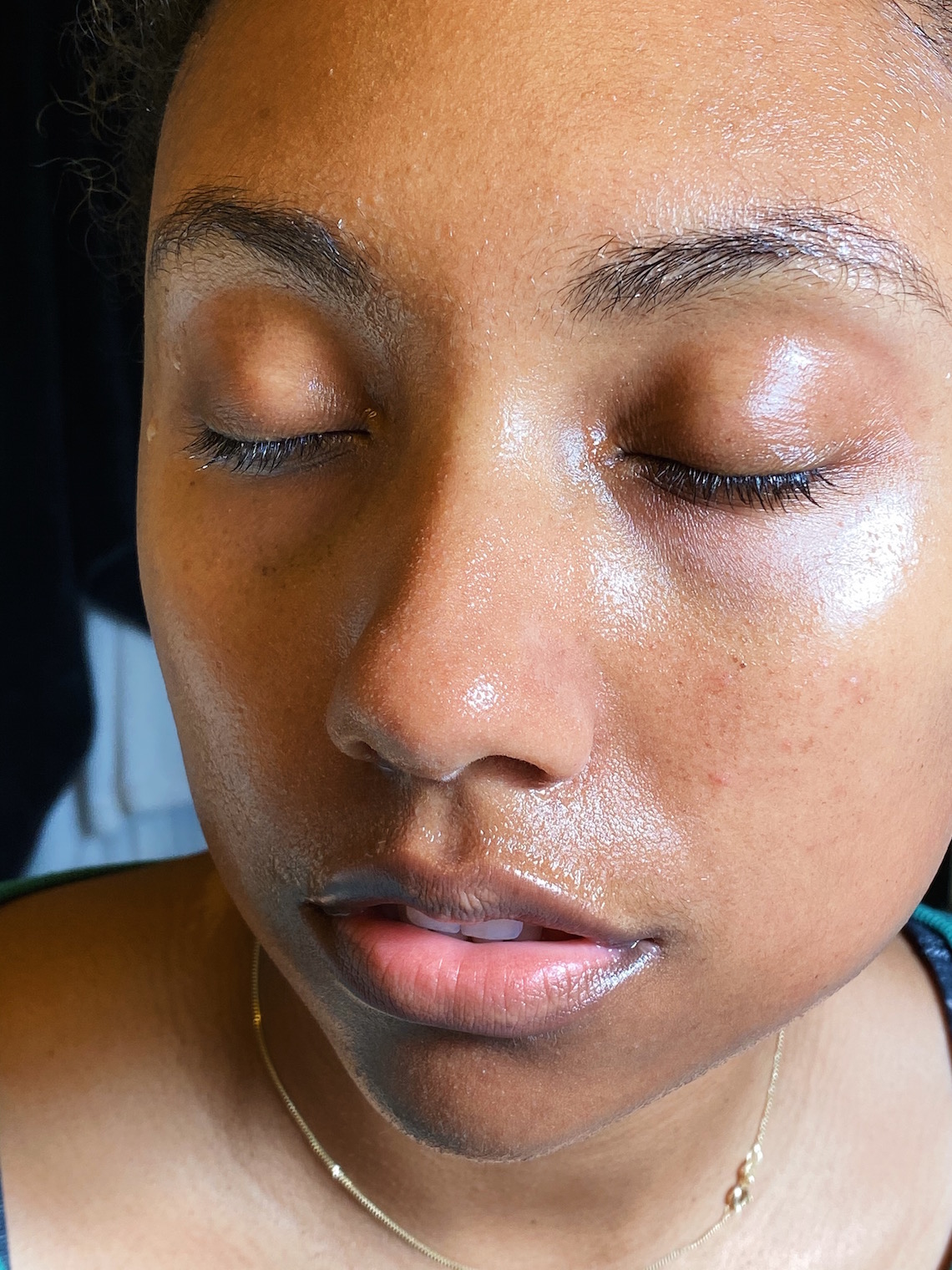 rinsed face-wet face-skin care routine