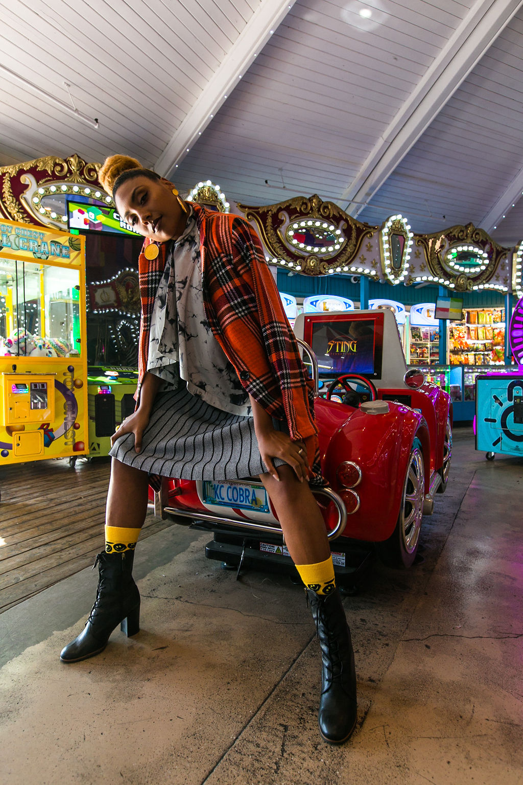arcade-toy car-fashion photoshoot-nordstrom rack-susina-long beach marina-rsee-xmmtt-wear who you are