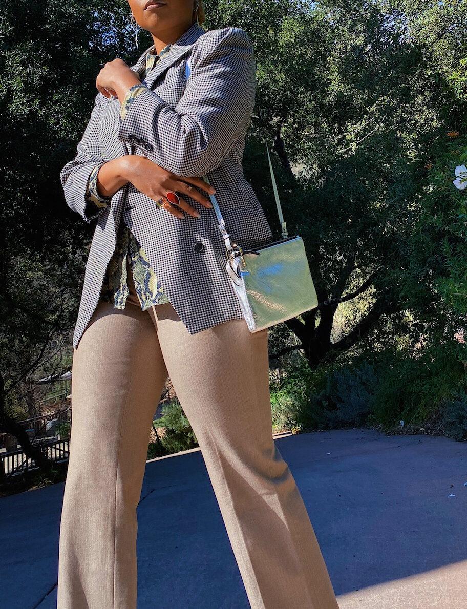 slacks-wedding-outfit- silver purse