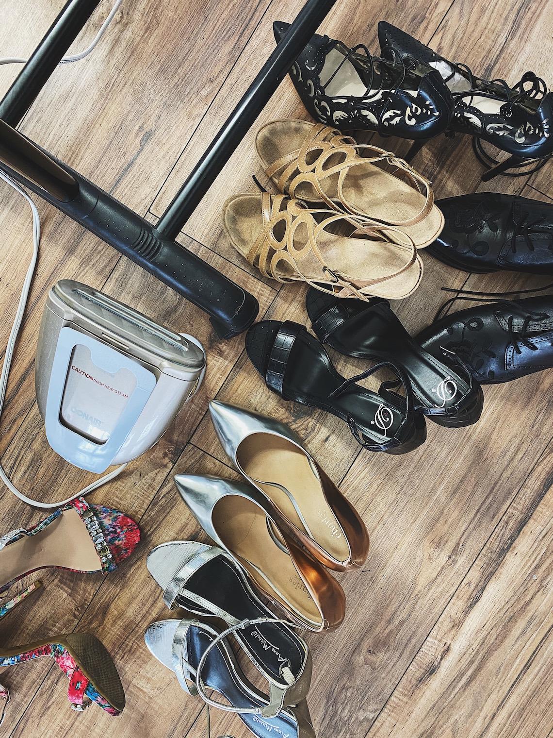shoes-stylist-on set-steamer-wood floor-god grace