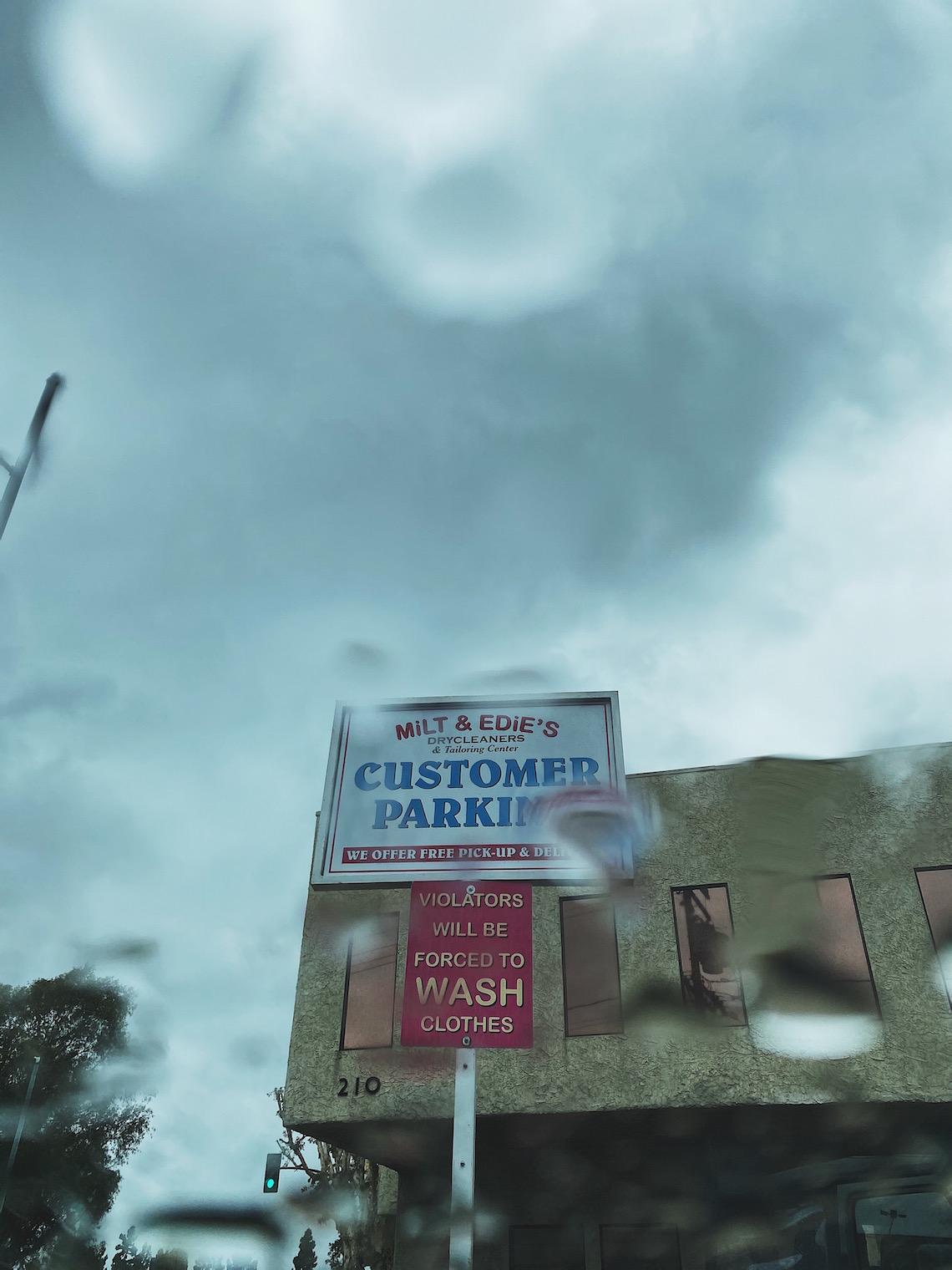 milt & eddies drycleaning-burbank-rain on windshield