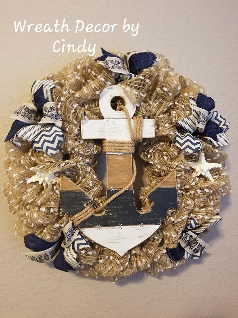 Anchor - Wreath Decor by Cindy at Lovers Key Nautical Market - loverskeynauticalmarket.com