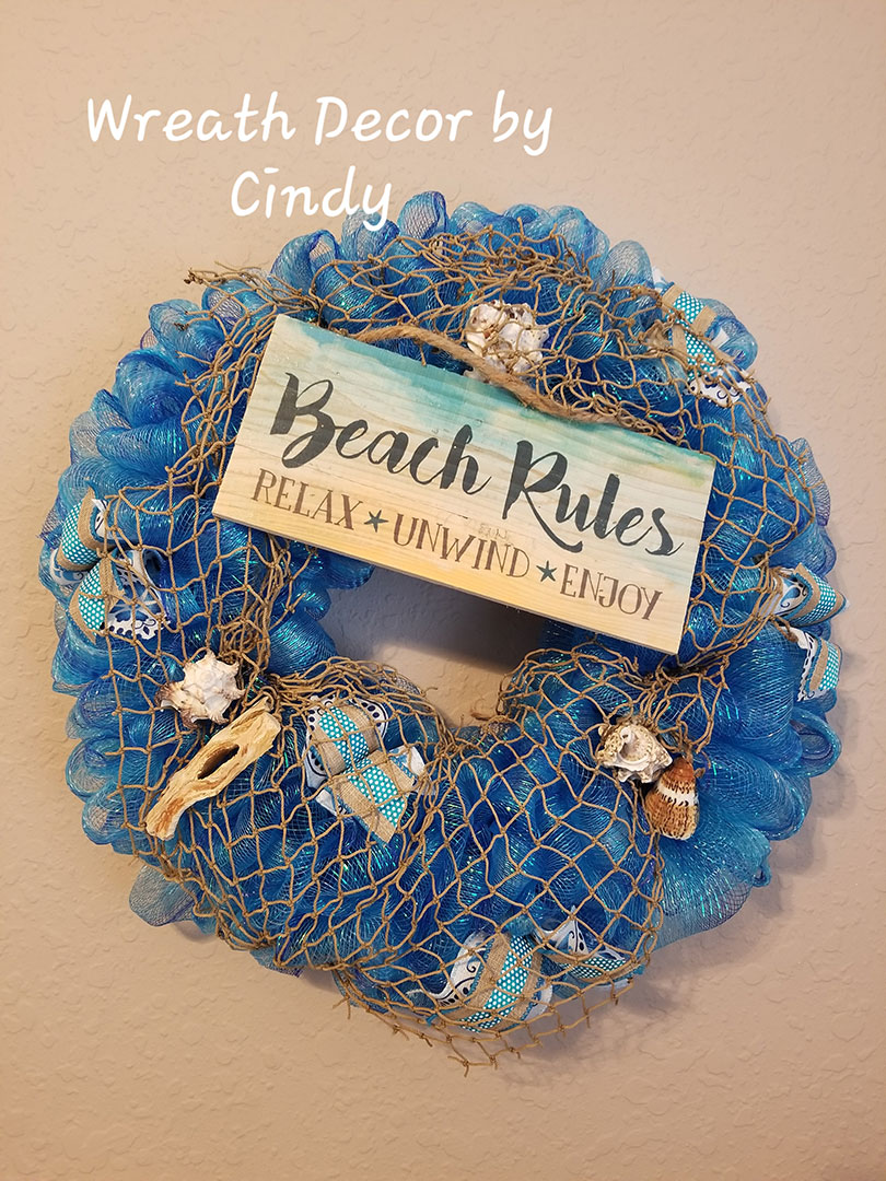 Beach Rules - Wreath Decor by Cindy at Lovers Key Nautical Market - loverskeynauticalmarket.com