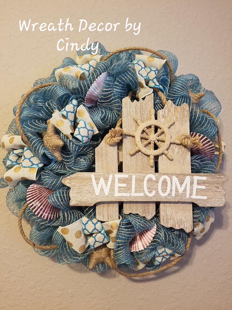 Welcome - Wreath Decor by Cindy at Lovers Key Nautical Market - loverskeynauticalmarket.com