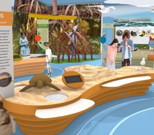 Artist's Rendering of exhibits area Welcome & Discovery Center at Lovers Key State Park