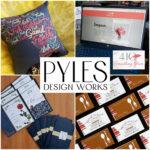 PDW Portfolio Samples:  Pillow, Website, Invitation, Business Cards