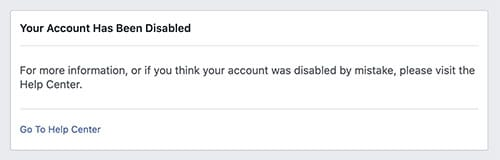 Facebook account disabled permanently