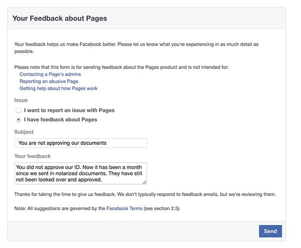 Facebook won't approve our documents