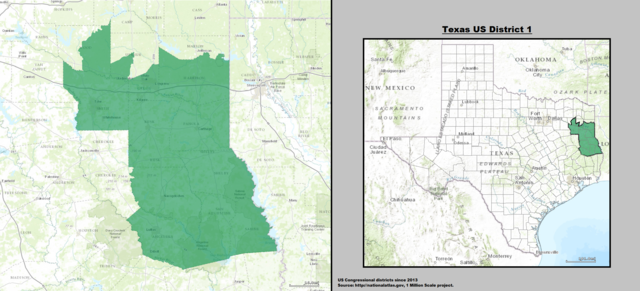 Texas' 1st Congressional District as of 113th Congress