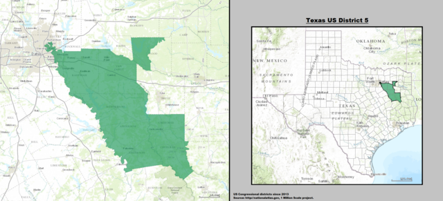 Texas' 5th Congressional District Map as of the 113th United States Congress