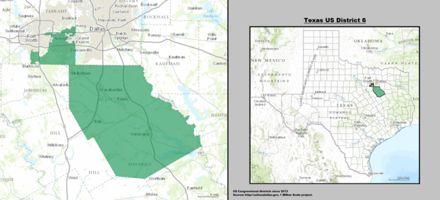 Texas' 6th Congressional District Map as of United States Congress 113 with list of US House District's major cities & towns.