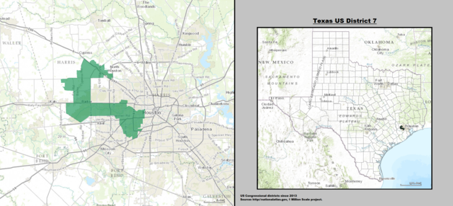 Texas' 7th Congressional District Map as of United States Congress 113 with list of US House District's major cities & towns.