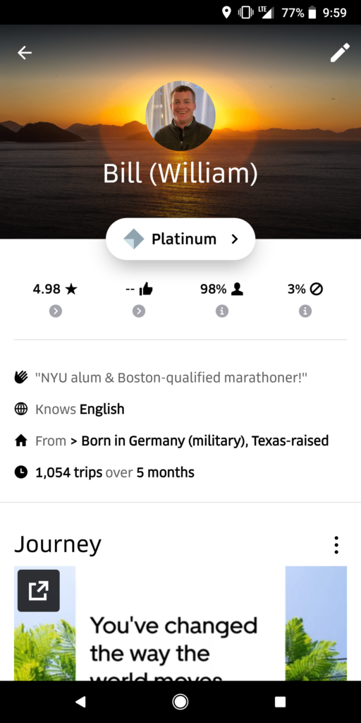 4.98 Uber Driver Rating, Acceptance Rate and Career Number of Rides of Website Author Bill Hammons, Screencaptured for Review