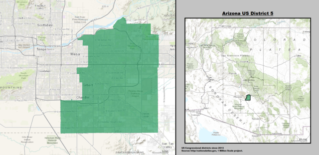 Arizona's 5th Congressional District Map as of 113th United States Congress with US House District's Major Towns and Cities.