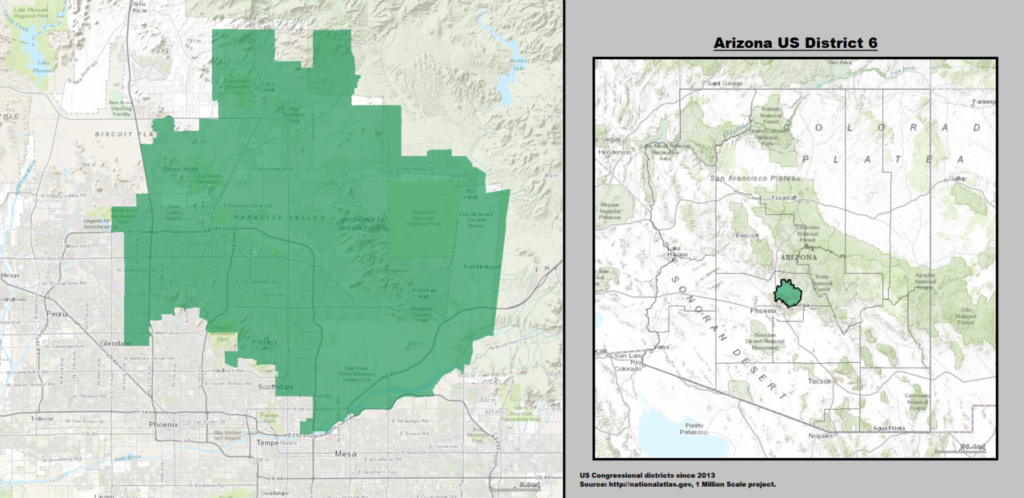 Arizona's 6th Congressional District Map as of 113th United States Congress with US House District's Major Towns and Cities.