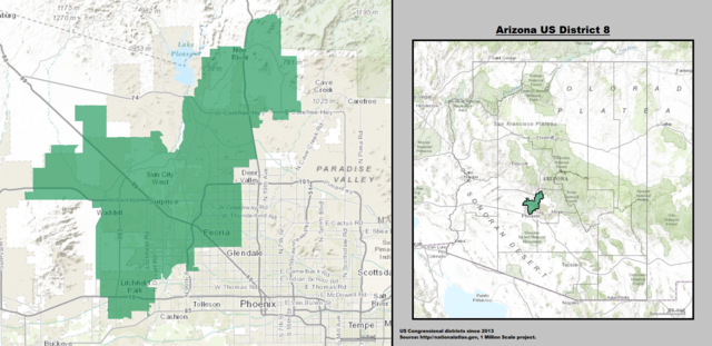 Arizona's 8th Congressional District Map as of 113th United States Congress with US House District's Major Towns and Cities