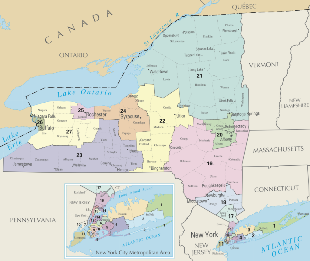 Maps of State of New York US House Congressional Districts as of United States Congress 113 with NY Counties and Major Cities