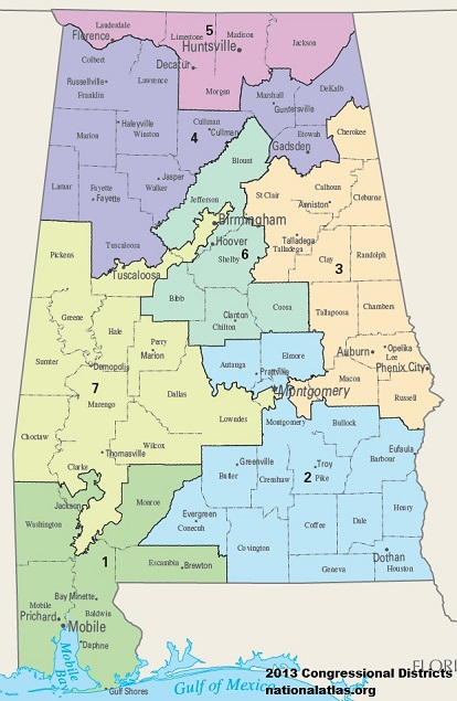Map of State of Alabama's US House Congressional Districts as of United States Congress 113 with AL Counties and Major Cities