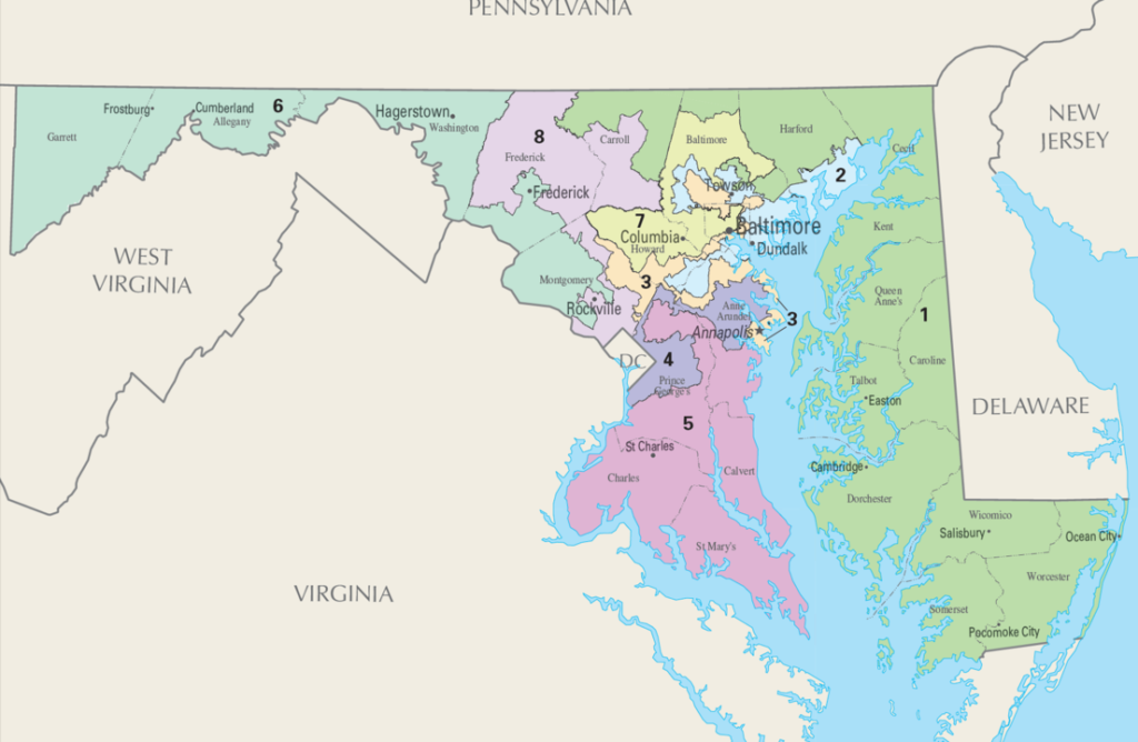 Maps of State of Maryland US House Congressional Districts as of United States Congress 113 with MD Counties and Major Cities
